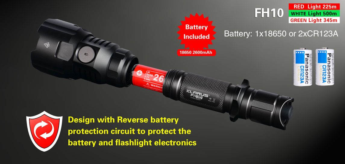 18650 flashlight klarus fh10