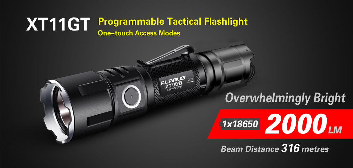 best tactical flashlight klarus xt11gt